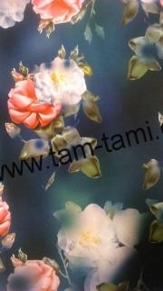 42338bfbb87e šatovka s hedvábím květy na navy a petrolejové empty